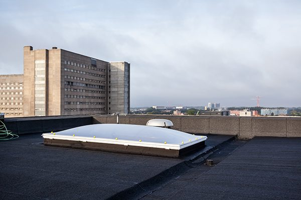 plastic Dome on a flat roof